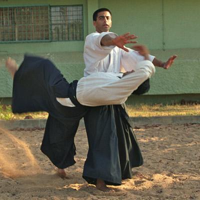 Thimmaiah performing Irimi on sand